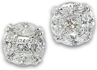 【鑑別付】K18WG 天然ダイヤモンド 0.76ct SI-Iクラス マーキス プリンセス 18金ホワイトゴールド 18K ダイア ピアス レディース
