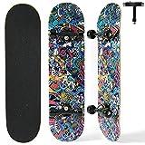 Skateboard per Principianti,Achiyway Completo Skateboard per Bambini/Adulto , 80 x 20 x 10 cm Professionale Skateboard a Doppia Scocca a 8 Strati in Acero per Rragazzi e Ragazze