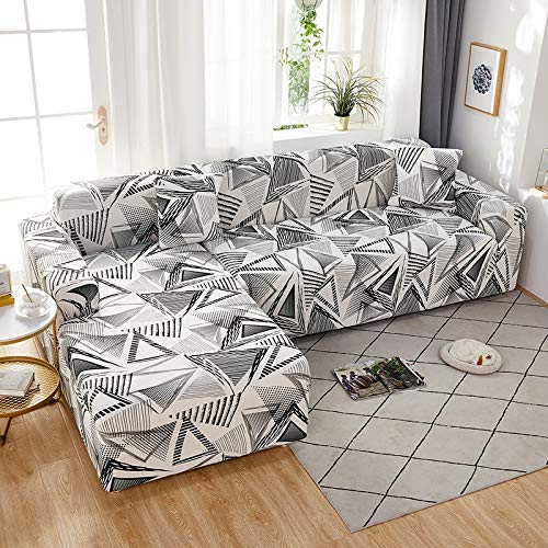 WXQY Funda de sofá elástica geométrica elástica Funda de sofá, Funda de sofá en Forma de L Todo Incluido, para Fundas de sofá de Diferentes Formas A13 4 plazas