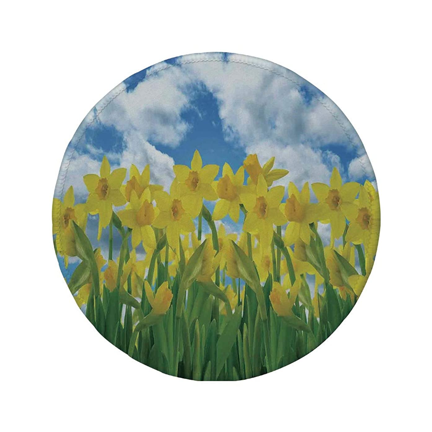 Non-Slip Rubber Round Mouse Pad,Daffodil Decor,A Field of Daffodil Flowers Blooms Against Summer Sky Cloudscape Picture Print,Yellow Green Blue,7.87