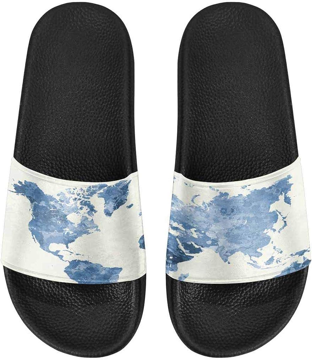 InterestPrint Slide Sandals for Women to Beach or Poor Snowman Santa Claus