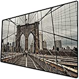 Tappetino per mouse da gioco [600x300 x 3 mm],Stati Uniti, vista del famoso storico ponte di Brooklyn e modello di cavo architettura di New York, Base antiscivolo 45x45cm