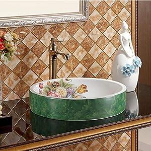 dwthh Arte Simple Lavabo sobre encimera baño Lavabo de cerámica Lavabo Arte Lavabo Lavabo Cintura Flor Amarilla