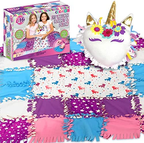 DIY Unicorn Sewing Blanket Pillow Kit for Girls No Sew Blankets Make Your Own Plush Fleece Blankets product image