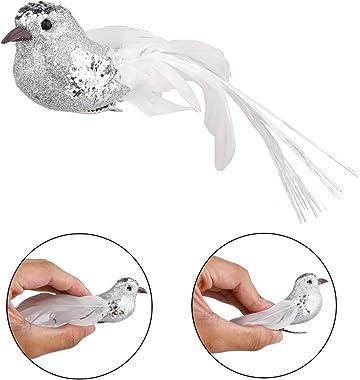 QCUTEP 12pcs Artificial Simulation Foam Bird Glitter Mini Clip On Birds Artificial Christmas Birds Christmas Cardinal Birds C