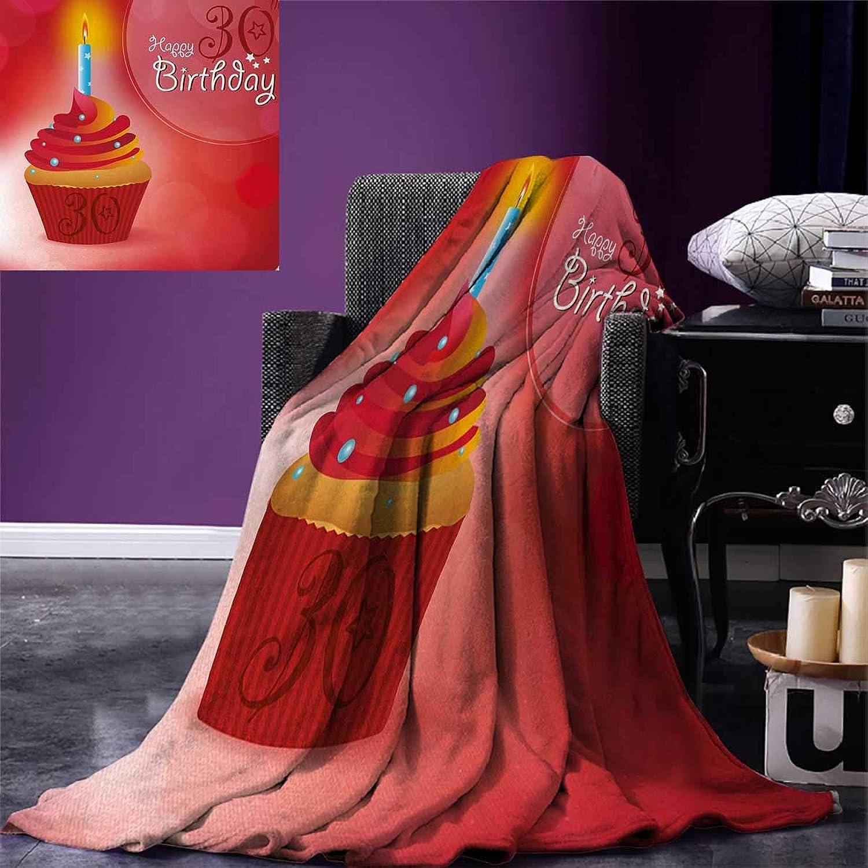 Anniutwo 30th Birthday Travel Throw Blanket Cute Cupcake Candlestick Stars Bokeh Backdrop Romantic Design Velvet Plush Throw Blanket 60 x50  Red orange bluee
