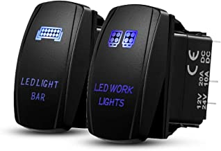 Auxbeam LED Rocker Switch 2 Pcs with 6 Switching Lines for 12 / 24V Cars, Motorcycles, Buses, Boats, RVs, Trailers