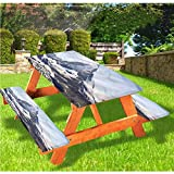 Mantel ajustable para mesa de picnic y banco de montaña, mantel de borde elástico Glacier Summit, 70 x 72 pulgadas, juego de 3 piezas para camping, comedor, al aire libre, parque, patio