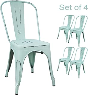 Devoko Metal Indoor-Outdoor Chairs Distressed Style Kitchen Dining Chair Stackable Side Chairs with Back Set of 4 (Dream Blue)