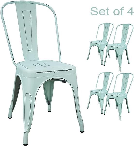 Devoko 金属室内户外椅子仿旧风格厨房餐椅可堆叠的侧椅,配有 4 个梦幻蓝色靠背