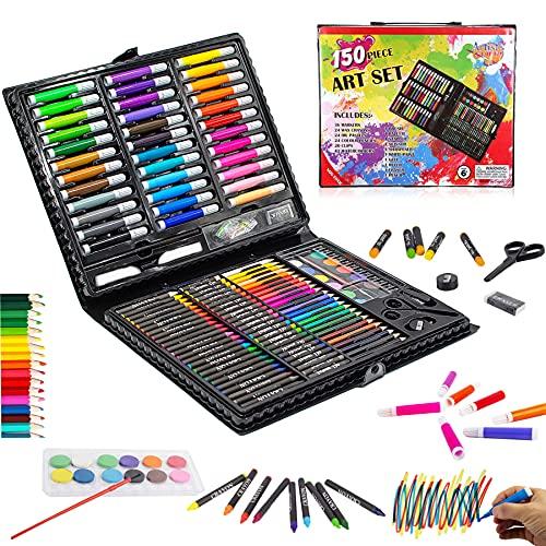 KINSPORY 150 PCS Portable Inspiration & Creativity Coloring Art Set Painting & Drawing Supplies Kit, Markers, Crayons, Colour Pencils - Black