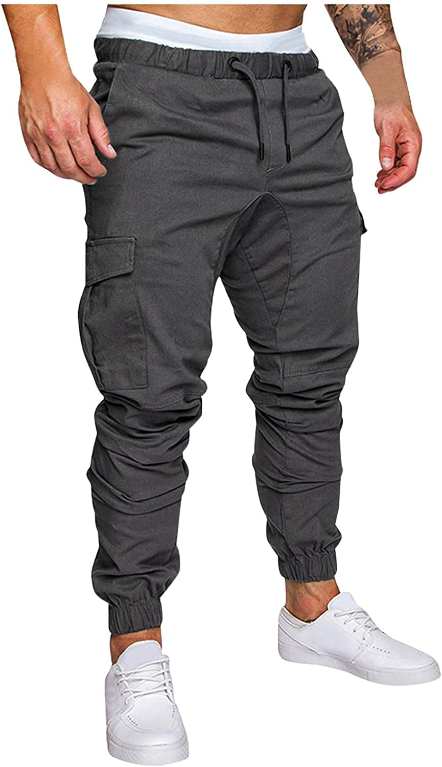 Huangse Mens Cargo Pants Casual Classic Fit Drawstring Trousers Summer Joggers Work Outfit with Pockets