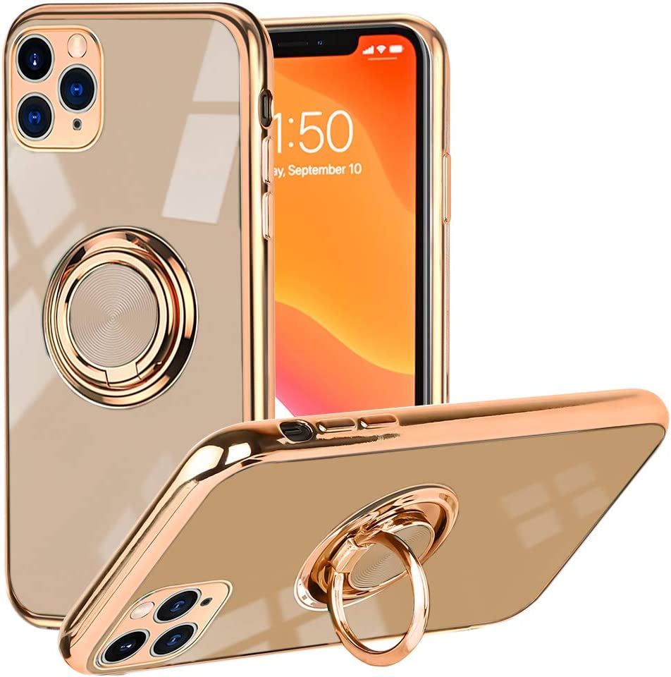 SOKAD iPhone 11 Pro Max Case, Soft Silicone TPU Edge Plating 360 Degree Rotation Ring Holder Kickstand Protective Anti-Scratch Cover for iPhone 11 Pro Max (Work with Magnetic Car Mount) - Rose Gold