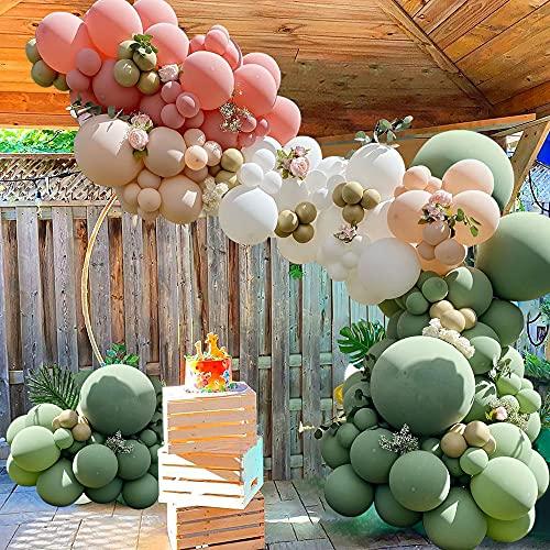 APERIL Kit de Guirlande de Ballon Mariage, Kit Arche Ballon 92 Pièces Ballons en Latex Rose et Vert Blanc,pour Decoration Bapteme Fille Anniversaire Mariage Fond fête décoration Fournitures