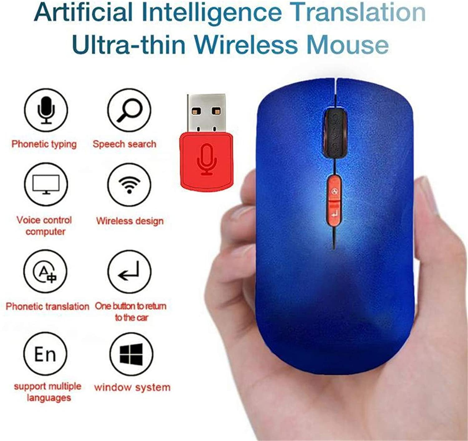 Artificial Intelligence Translation Mouse Voice to Text 30 Country Language Translation UltraThin Portable Mobile Optical Computer Wireless Mouse