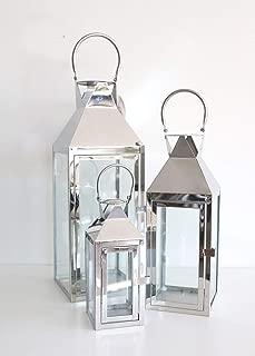 Afloral Set of 3 Decorative Silver Metal Candle Lanterns