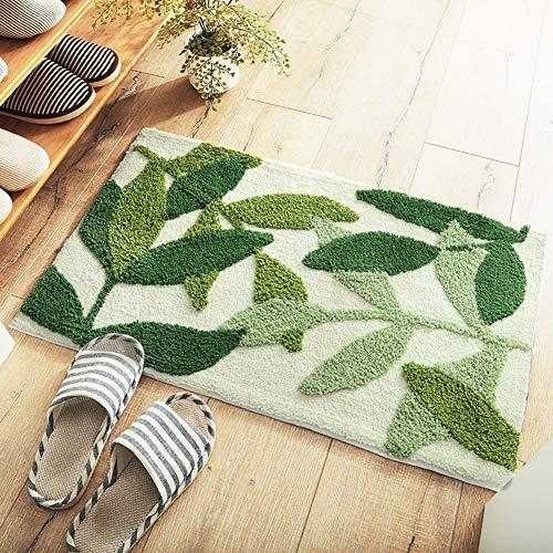 Morbuy Hochflor Shaggy Schmutzfangmatte Anti-Rutsch Teppich Bequeme Badematte Badezimmer-Teppich Super saugfähiger weicher Duschteppich (45 * 65cm, Grünes Blatt 1)