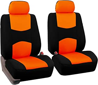 FH Group FH-FB050102 Pair Set Flat Cloth Car Seat Covers, Orange/Black - Fit Most Car, Truck, SUV, or Van