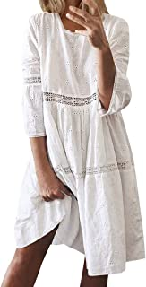 HIRIRI Women T Shirt Dress Loose Boho 3/4 Long Sleeve Hollow Out Splice O Neck Elegant A Line Midi Dress