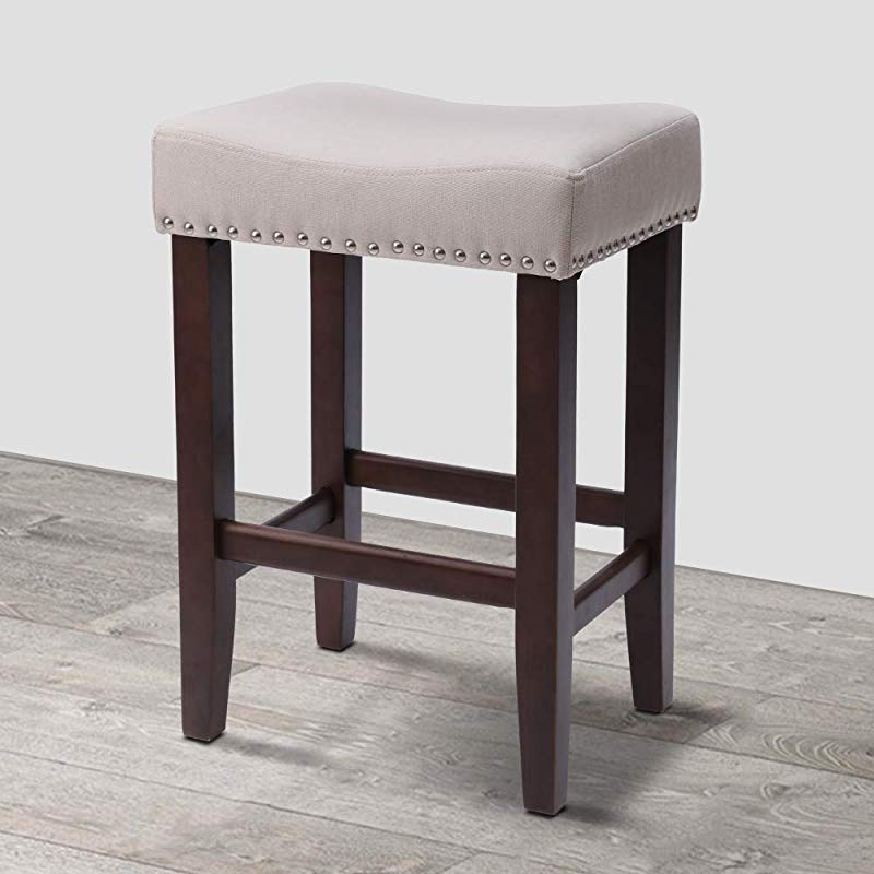 KingSo Bar Stool Poplar Wood Pub Height Kitchen Counter Bar Stool With Brass Nailhead Studs 23 Height