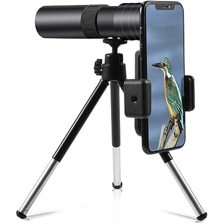 telescopio de visi/ón nocturna Telescopio monocular impermeable para tel/éfono inteligente 4K 10-300X40 mm Telescopio monocular con zoom s/úper telefoto con soporte para tel/éfono inteligente y tr/ípode