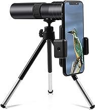 4K 10-300x40mm Super Telephoto Zoom Monocular Telescope Smartphone Holder Phone Clip&Tripod Portable for Bird Watching/Hun...
