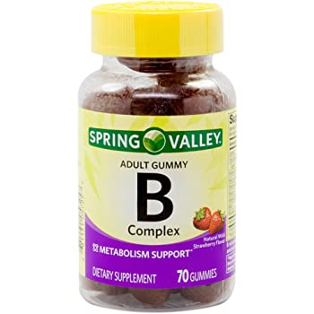 Spring Valley B-Complex Adult Gummy 70 Count - Natural Wild Strawberry Flavor (Packaging May Vary)