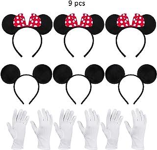 9 pcs Amycute Orejas Mouse niños, Diadema Disfraz Raton con Guantes para Accesorio de Niños
