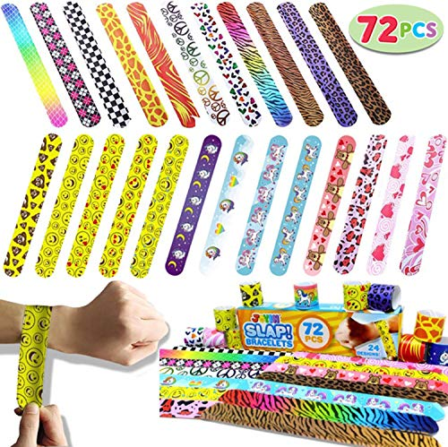 JOYIN Toy 72 PCs Slap Bracelets Party Favors Pack (24 Designs) with Colorful Hearts Animal Emoji and Unicorn