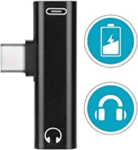 2 in 1 USB Type C to 3.5mm Headphone Audio Jack & Charger Adapter, Compatible with Huawei P20 Pro/Mate 10 Pro/Mate 20 Pro, Motorola Moto Z/Z Force, OnePlus 6T, Xiaomi Mi 8/Mix 2 (Black)