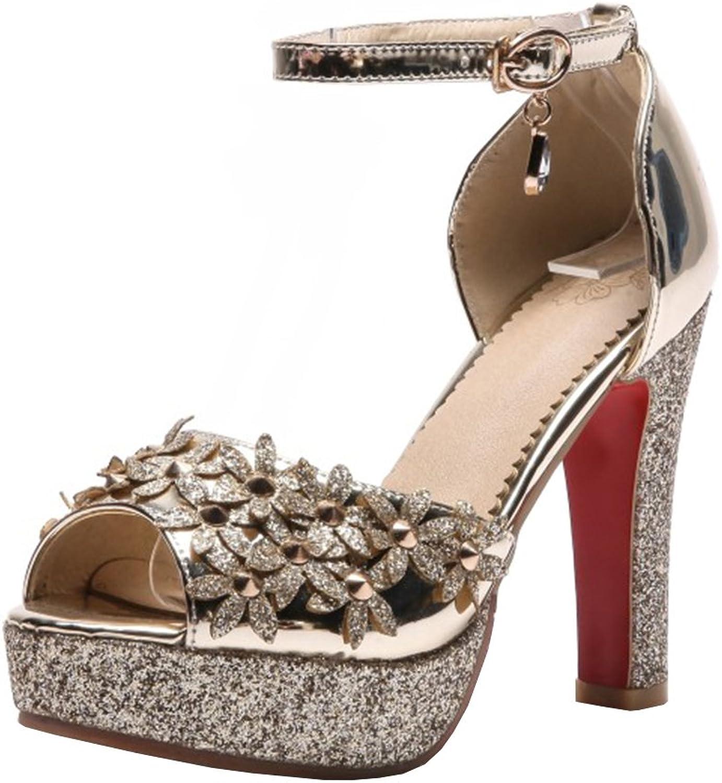 Agodor Women's Platform Block Heel Ankle Strap Pumps with Flowers High Heels Sandals Summer shoes