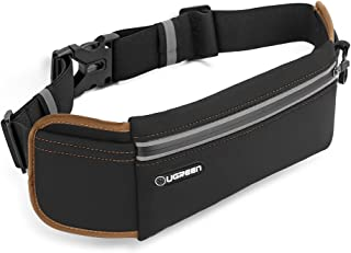 UGREEN Running Belt Pouch Runners Fanny Pack Waist Bag for iPhone X, iPhone 8, iPhone 7 Plus, iPhone 6S 6 Plus, Samsung Galaxy S8 S7 S6 Edge, Waterproof and Reflective - Black