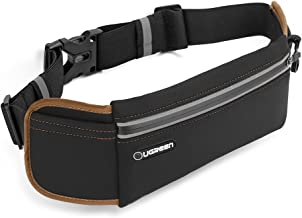UGREEN Running Belt Pouch Runners Fanny Pack Waist Bag for New iPhone 11, iPhone X/XR/Xs, iPhone 8Plus/ 7Plus/ 6S 6Plus, Samsung Galaxy S8 S7 S6 Edge, Oneplu 7 6 5, Waterproof and Reflective - Black