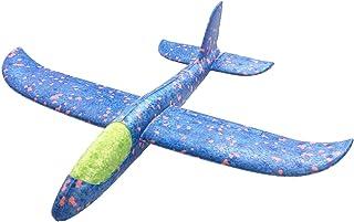 HUOFU 飛行機 おもちゃ 手投げグライダー 知育 公園遊び 軽量 発泡スチロール製 無臭無毒 親子アウトドアゲームに お歳暮/クリスマス/お正月プレゼント 35CM 1枚(青)