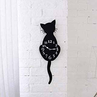 Sonmer Acrylic Creative Cartoon Cat Wall Clock, For Home Office Decor, With Tail Swing