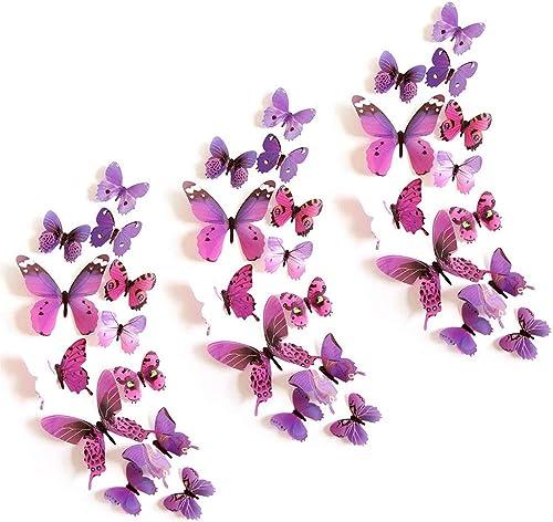 Stickers Papillon 3D, 36 Pièces Stickers Papillon Violet/Papillons Decoratifs, Stickers Muraux Chambre Fille Adulte P...