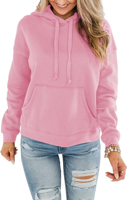 Minetom Women's Lightweight Pullover Hoodies Casual Long Sleeve Sweatshirts Tops with Pocket