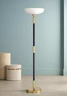 Cameron Light Blaster Modern Torchiere Floor Lamp LED Antique Brass and Matte Black Opal Glass Bowl for Living Room Bedroom Office Uplight - Possini Euro Design