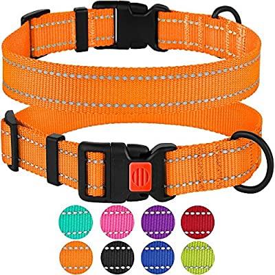 "CollarDirect Reflective Dog Collar, Safety Nylon Collars for Dogs with Buckle, Outdoor Adjustable Puppy Collar Small Medium Large (Neck Fit 18""-26"", Orange) from CollarDirect"