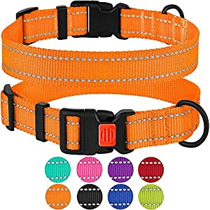 CollarDirect Reflective Dog Collar, Safety Nylon Collars for Dogs with Buckle, Outdoor Adjustable Puppy Collar Small Medium Large (Neck Fit 18″-26″, Orange)