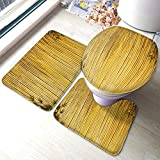 Moslion Bamboo Bath Mat Chinese Japanese Style Bamboos Stripe with Botanical Leaves Branch Plant Wood Bathroom Mat Set 3 Pieces Rug Toilet Seat Lid Cover Non Slip Mat Anti-Skid Pad Yellow