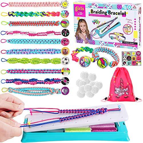 Toyssa Armbänder Selber Machen Kinder Freundschaftsarmband Bastelset Armband Knüpfen mit 12 Farben Garnen DIY Armband Kreativ Geschenk für Kinder Mädchen