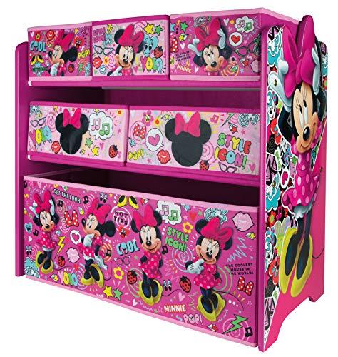 URBNLIVING Disney Minnie Mouse Caja de Juguetes para Dormitorio de niños, Estante Organizador para Dormitorio Infantil