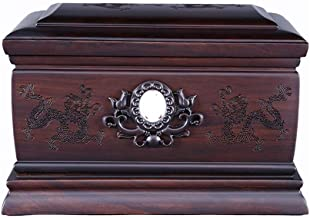 JCCOZ-URG SsangYong Play Bead Pattern Ebony Material Can Be Inlaid with A Photo Memorial Box, Moisture-Proof Urn for Adult...