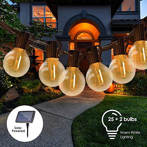 Catene Luminose Solare,Tomshine 25FT Impermeabile LED G40 Luci da Giardino con 25+2 Lampadine Luci del Patio per il Caffè Portico del Partito [Classe di efficienza energetica A+]
