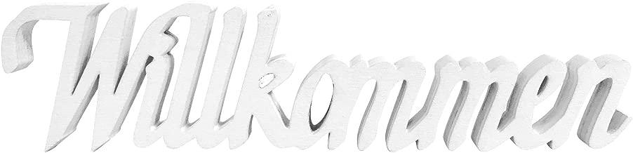 Schriftzug Holz Willkommen wei/ß Vintage Deko Shabby White Welcome