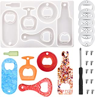 Niome Bottle Opener Silicone Mold DIY Corkscrew Resin Mold Epoxy Casting Mold for DIY Keychain Wine Beer Spanner Jar