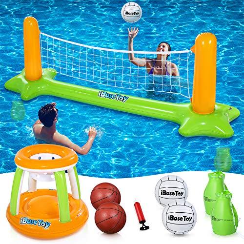 Aufblasbarer Pool Float Set Volleyballnetz und Basketball Hoops Balls, Pool-Volleyball-Netz Schwimmender Basketballkorb für den Pool - Schwimmspiel Schwimmendes Spielzeug für Kinder und Erwachsene