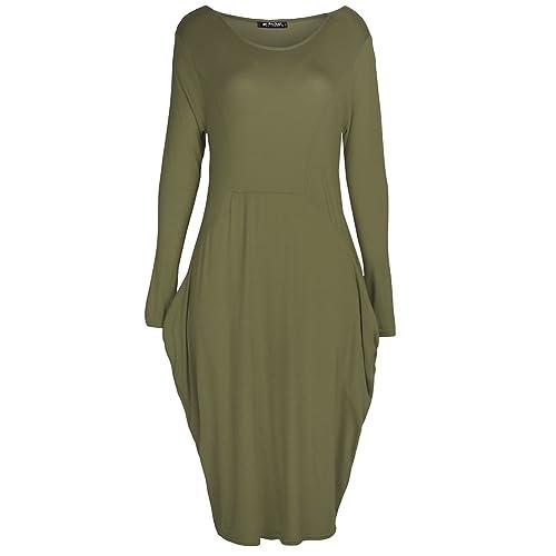 f3579c5f79 Fashion Star Womens Italian Drape Lagenlook Long Sleeve Side Pockets Ladies  Baggy Midi Dress
