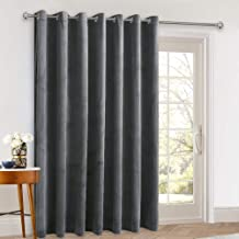 StangH Extra Wide Velvet Curtains - 108 inch Long Blackout Sliding Door Curtain Panels with Eyelet Privacy Protect Room Divider for Guest Room/Office, Grey, 100 x 108-inch Long, 1 Panel